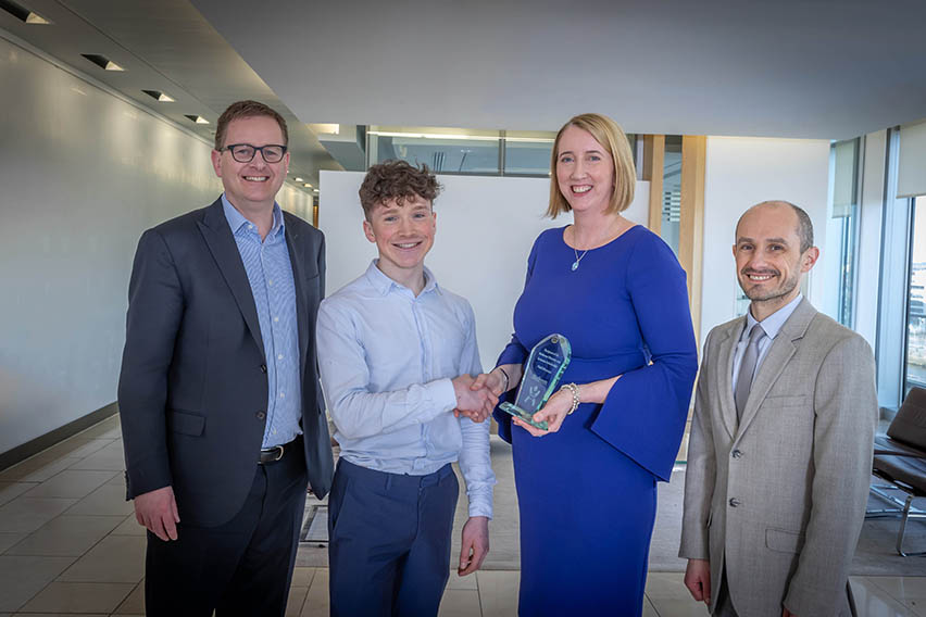 Pictured (l-r): Matheson Managing Partner, Michael Jackson; Diversity and Inclusion Scholar 2020, Niall Brennan; Matheson Partner and Head of Asset Management, Tara Doyle; and Head of Trinity School of Law, Mark Bell