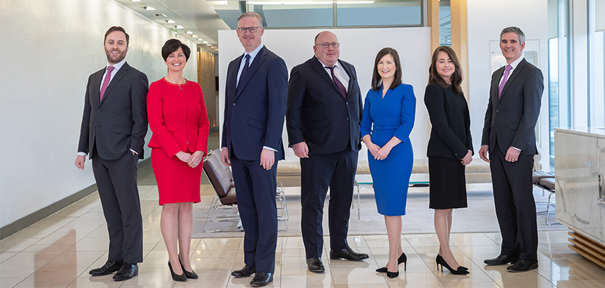 Pictured L-R: David Jones, Corporate M&A; Deirdre Crowley, Employment, Technology and Innovation, Data Privacy; Dermot Powell, Risk Management; David Fitzgibbon, Corporate M&A; Susanne McMenamin, Corporate M&A;